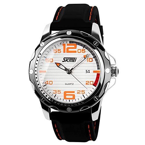 Reloj para hombre, reloj de pulsera de cuarzo con correa de silicona, relojes de calendario de ocio impermeables al aire libre, movimiento de cuarzo importado japonés, resistente al agua 30 m