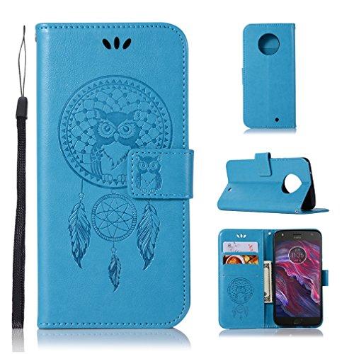 LMAZWUFULM Hülle für Motorola Moto X4 (5,2 Zoll) PU Leder Magnetverschluss Brieftasche Lederhülle Eule & Traumfänger Muster Standfunktion Ledertasche Flip Cover für Motorola X4 Blau