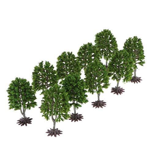 Baoblaze 10er Modell Bäume Mini Miniatur Bäume Dekoration für Modellbahn Landschaftsgestaltung, Höhe 9cm