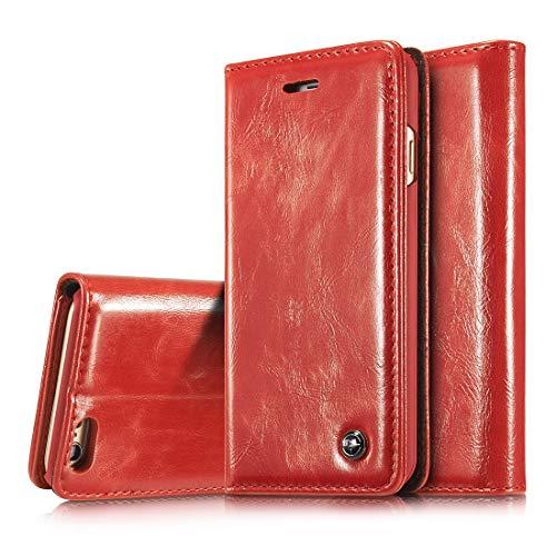 GUOQING Funda de teléfono para iPhone 6/6S de 4.7 pulgadas, de piel sintética de alta calidad, con función atril, estilo retro, plegable, tarjetero y funda protectora (color: rojo)