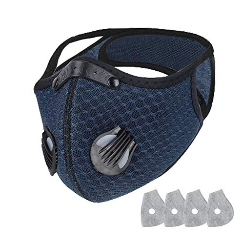 Gokeop Face Protection Replaceable Covering 1Pcs + 4 Filters Reusable Cotton Mouth Protection Dustproof Carbon (Navy Blue +4 PCcs Inner Pads)