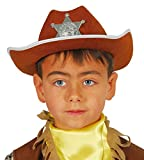 Guirca - Sombrero de vaquero sheriff de fieltro, para niños, color marrón (13559)