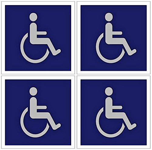 SecurePro Products Aufkleber, für Behinderten-/Rollstuhl-Symbol, 12,7 x 12,7 cm, 4 Stück