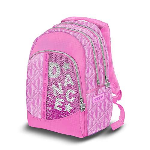 Dimensione Danza, Zaino scuola elementare Bambina, Tre scomparti con Spallacci Imbottiti (Paillettes Rosa)
