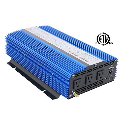 AIMS 1500 Watt, 3000 Watt Peak, Pure Sine DC to AC Power Inverter, USB Port, 2 Year Warranty,...