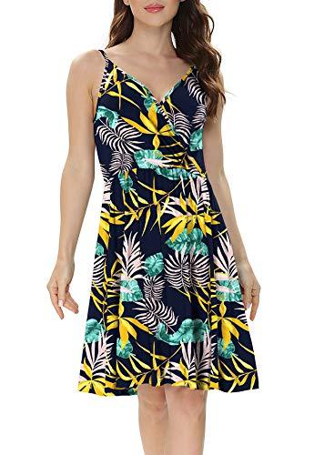 WEACZZY Women's V-Neck Spaghetti Strap Dress Summer Casual Swing Sundress with Pockets