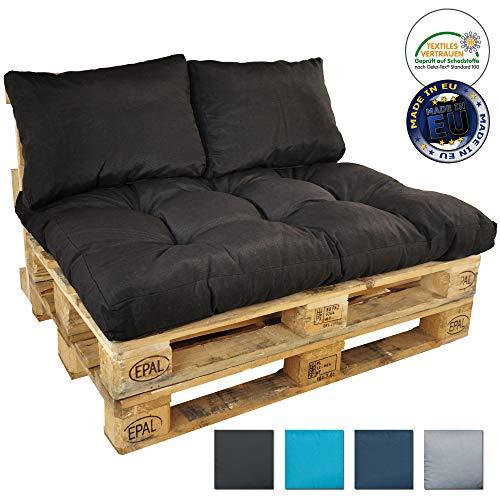 DILUMA Set Cojines para palés Primo - Cojines repelentes a Las Manchas para sofás palets - 1x cojín de Asiento + 2X Cojines de Respaldo, Color:Antracita