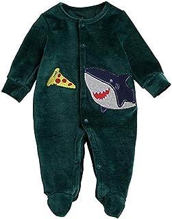 CHRONSTYLE Neugeborenes Baby Jungen Cartoon Footies Langarm One Piece Button Down Shark Baumwolle Strampler Overall Nachtwäsche