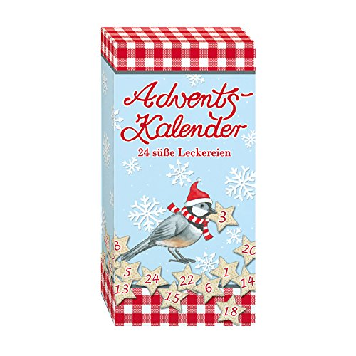 ADVENTSKALENDER-BOX mit 24 süßen Mini Schokoladen Weihnachts Männern STEINBECK Vollmilch insg. 120g Geschenk Jahreswechsel Landlust Vogel süß Mitgebsel Advent Wichtelgeschenk