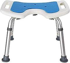 YSDHE Shower Stool Bathroom Seat Bath Seat Height-Adjustable Anti-Slip Antibacterial Stable Aluminum Light Handicapped Seniors Blue Mat