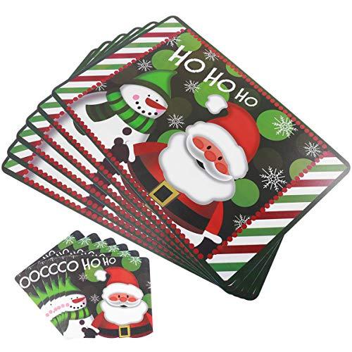 Amosfun Estera de Mesa navideña Cuchillo Tenedor Mantel Individual muñeco de Nieve Santa Estera de vajilla Estera para Mesa de Comedor Suministros de Fiesta de Navidad 12 Piezas (Verde)