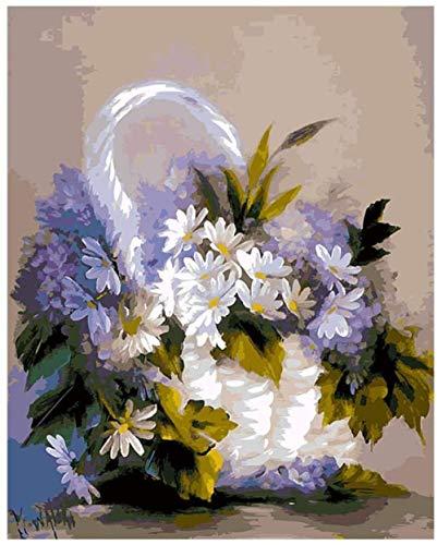 ZJZNB Olieverfset, 40 x 50 cm, met lijst, mand voor bloemen, paars, met kwast en acrylverf voor volwassenen, kinderen, senioren, beginners