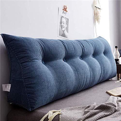 ZH Dreieckiges Kissen zum Lesen, Rückenkissen, multifunktionales Bett, Keilkissen, Cord-Rücken, gepolstertes Kopfteil, langes Kissen, dunkelblau (Größe: 140 cm)