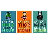 3 affiches superhéros avec citation humoristique, affiche enfant A4