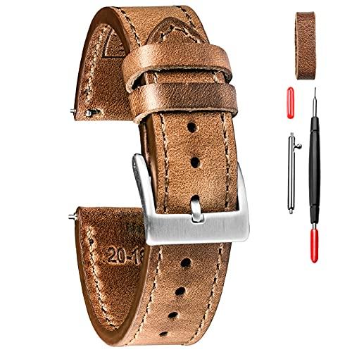 Leder Uhrenarmbänder für Männer, Horween Schnellspanner Leder Uhrenarmband Vintage Uhr Ersatz Wrap von 18mm, 20mm, 22mm