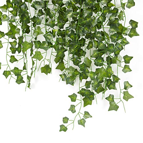 12 Pcs 6.8ft Artificial Ivy Garland Fake Ivy Plastic Plant Artificial Leaves Hanging Fake Vine Plants,Indoor Bedroom Kitchen Home Office Party Christmas Outdoor Greenery Decoration Garden Wall