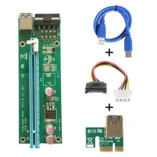 PCI-E Express 1x bis 16x Mining Dedizierte Grafikkarten Verlängerungskabel Adapter, Extender Riser Kartenadapter mit USB 3.0 SATA 15 Pin Power Kabe