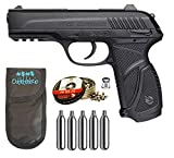 Outletdelocio. Pack Pistola Perdigón Gamo PT-85 4,5mm Blowback. + Funda + balines + bombonas co2 23054/29318/38203
