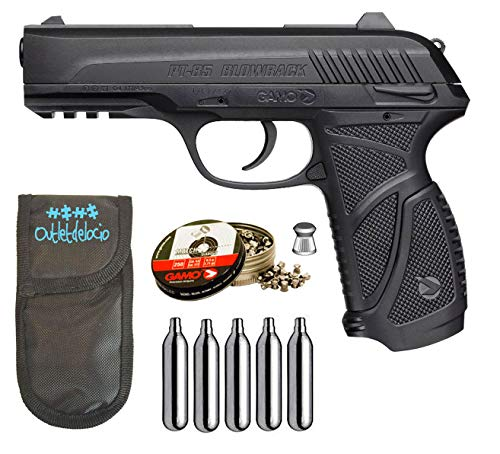 Outletdelocio. Pack Pistola Perdigón Gamo PT-85 4,5mm Blowback. + Funda + balines + bombonas co2 23054/29318/38203