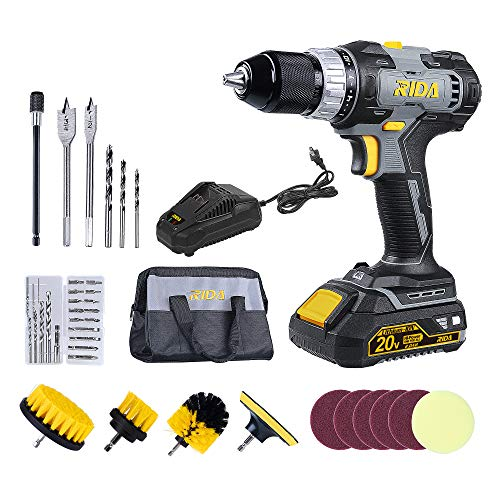 RIDA Drill Driver Set, 400 In-lbs 20V Cordless Drill, 1 x 2000mAh Lithium-ion Battery, 60 Minutes Fast Charger 2.4A, 1/2'' Metal Chuck, 0-1500RPM Variable Speed, 37Pcs Accessories