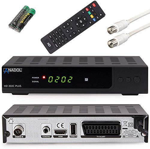 Anadol HD 202c Plus USB Aufnahme–Funktion Timeshift (Schwarz) digitaler Full HD 1080p Kabel-Receiver [Umstieg Analog auf Digital] (HDTV, DVB-C / C2, HDMI, SCART, Coaxial, Mediaplayer, USB 2.0)
