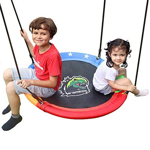 "[2020 NEW]Wamkos Dinosaur Design 40"" Tree Swing for Kids Outdoor/Backyard,Durable Steel Frame Toddler Swingset with Hanging Straps Kits,Heavy Duty/Waterproof/Adjustable Children Disk Swing for Outside"