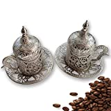 2 Pcs Turkish Greek Arabic Moroccan Coffee Cups - 2 Cups Consists of 8 Pcs Casting Carving Espresso...