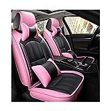 XQW car Fundas Protector Respaldo Asiento Coche Universal Set, Verano Refrescante Ventilacion, Comodo Almohada para Cuello y Lumbar, Seguridad Antideslizante, Apto para La Mayoría de Honda Fit Nissan
