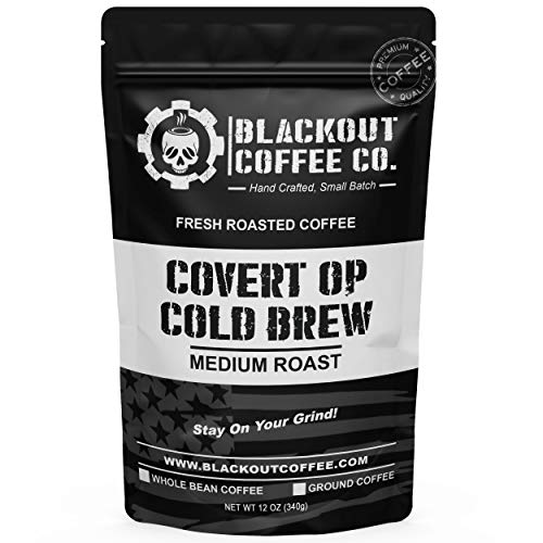 Blackout Coffee, Covert Op Cold Brew Medium Roast Coffee, Perfect for Cold Brew, Drip & Pour Overs, Small Batch Roasted in the USA – 12 oz Bag (Whole Bean Coffee)