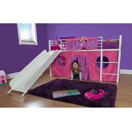 Eshion Girls Twin Bunk Loft Bed With Fun Slide And Princess Castle Curtain Set White Pink Buy Online In United Arab Emirates At Desertcart Ae Productid 34972284