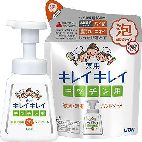 Kirei Kirei Medicated Kitchen Foaming Hand Soap, Body Pump 8.1 fl oz (230 ml) + Refill 6.1 fl oz (180 ml)