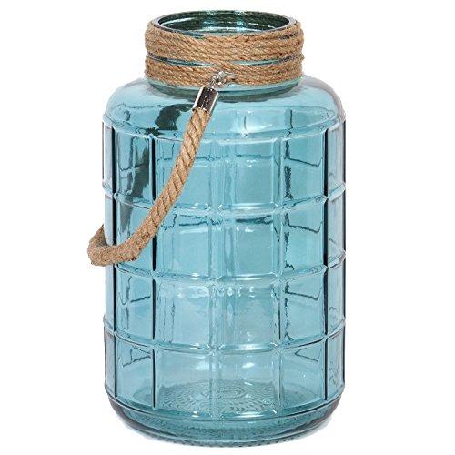 Indhouse-Candelabro portavela estlo e decorazione per piumone e vintage in vetro azzurro, con corda