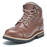 Elk Woods Men's 6 inch Soft Toe Brown Leather Waterproof Work Boots Sherman 84431 US 8