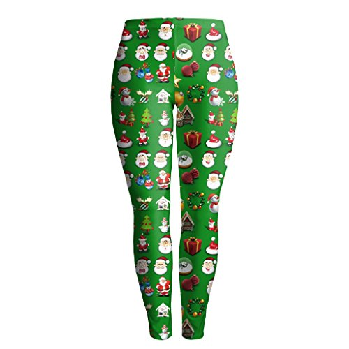 SGJFZD Damen Leggings 3D Bedruckt grün Funny Santa Claus Leggins Yoga Hose Leggings Leggings Sport Yoga Leggings, Polyester, grün, M