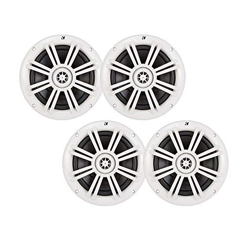 Kicker White OEM Replacement Marine 6.5' 4Ω Coaxial speaker Bundle - 4 Speakers
