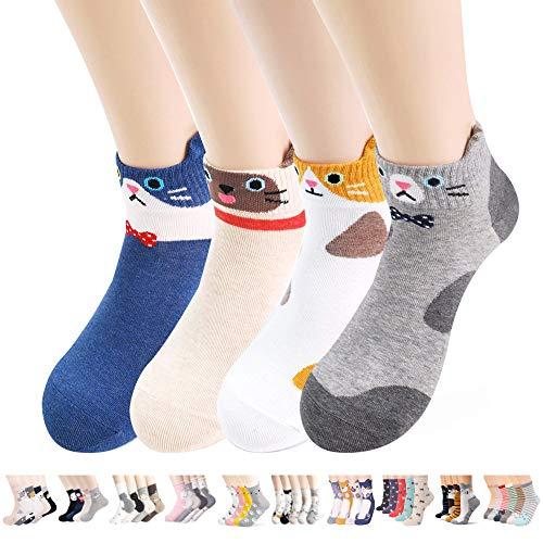 Damen-Socken – niedliche, verrückte Tiere, Katzen, Hunde, Eulen, Kunstmuster, gut als Geschenk - Braun - Einheitsgröße