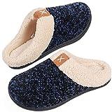 VeraCosy Komfortable Damen Memory Foam Hausschuhe, wollähnliche Plüschflausch gefütterte Pantoffeln mit Gummisohle für Drinnen und Draußen, Königsblau, 40/41 EU