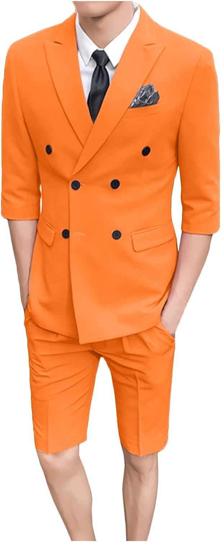 Wemaliyzd Modern Fit Young 2 Piece Suit Peak Lapel Blazer 1/2 Sleeves Short Pants