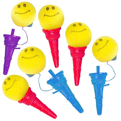 ArtCreativity Smile Face Ice Cream Launcher - Pack of 12-4.75 Inch Classic Icecream Cone Foam Ball Launchers, Birthday Party Favors for Kids, Goody Bag Fillers, Carnival Prize