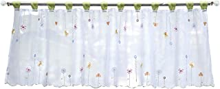 HomeyHo Valance Lace Sheer Embroidered Curtains Short Curtains for Small Window Pattern Half Window Curtains for Bedroom Sheer Curtain Decor Short Curtains for Bedroom Window, 18 x 47 Inch, Green
