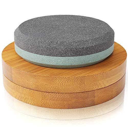 Sharp Pebble Puck/Disk - Axe/Hatchet Large Sharpening Stone- Whetstone Blade & Tool Sharpener- Dual Grit Multipurpose Waterstone Sharpener with Bamboo Box