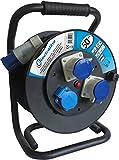Electraline 49058 prolunga in gomma 3G1,5 mm² con avvolgicavo 50 mt 2 prese industriali IEC + 1 schuko spina a 3 poli adatto per camper, campeggio, caravan, barca, cantiere - IP44
