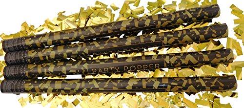 GW Handels UG 4er Set Konfettikanonen XL 80 cm Party-Popper Konfetti-Shooter Gold metallic Partykanonen Konfettibombe Hochzeit Geburtstag Karneval