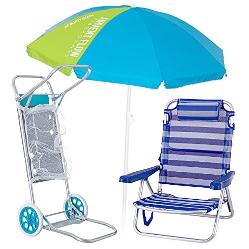 Pack de Silla Playa con cojín de Aluminio y textileno Azul y Blanco, sombrilla de Ø 180 cm. y Carro portasillas - LOLAhome