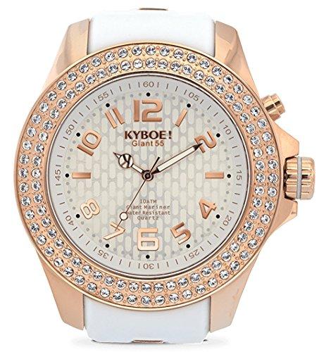 KYBOE! Reloj de cuarzo de acero inoxidable y silicona (modelo: radiante oro rosa)
