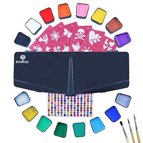Bowitzki Face Paint Kit for Kids 14 Color Face Painting Set 168 Rhinestones 40 Stencils 2 Glitter 3 Brushes Non Toxic Water Based FDA Compliant Professional Halloween Makeup Body Paint Adults