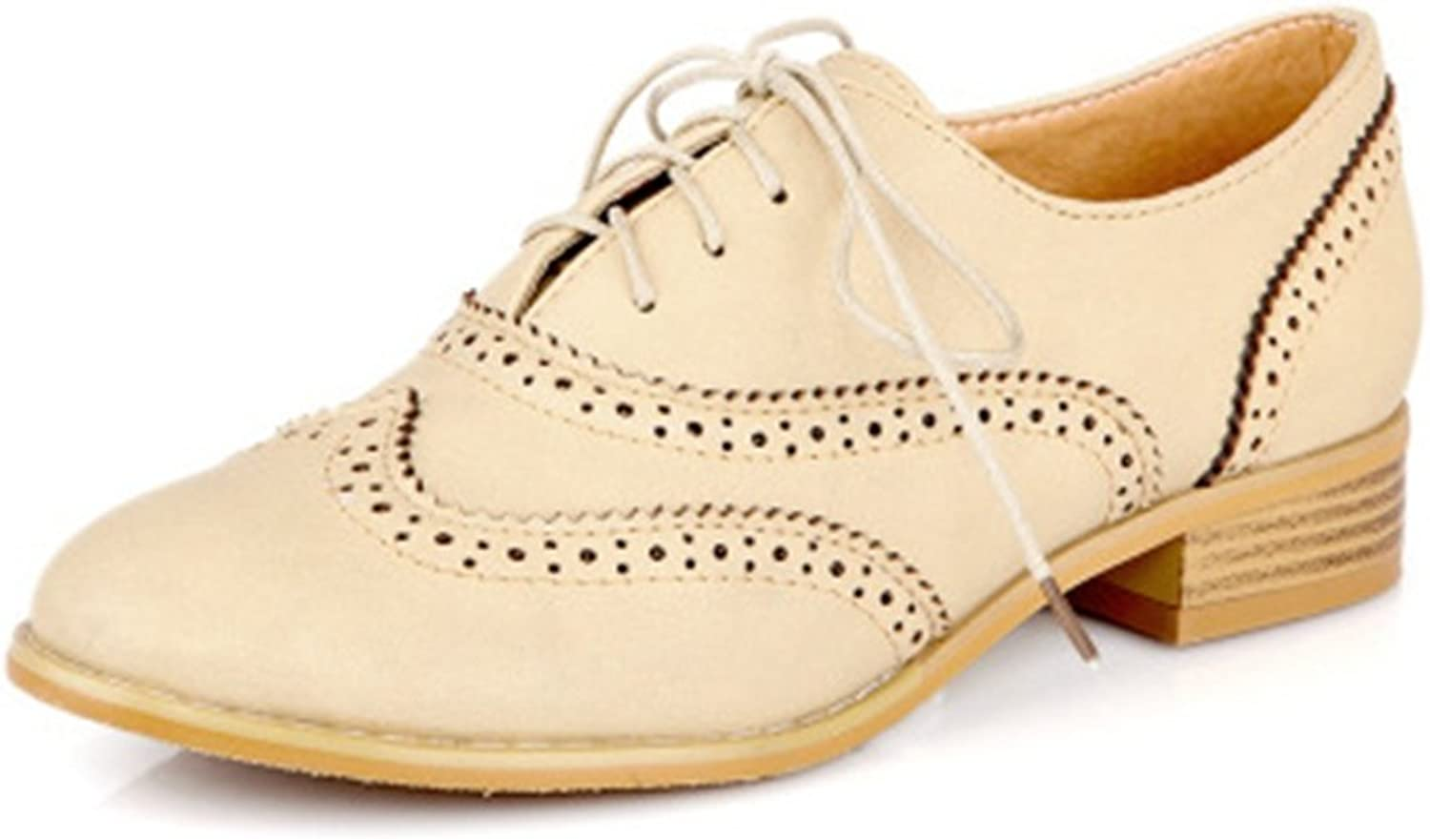 T-JULY Women's Wingtip Oxfords shoes - Comfortable Vintage Round Toe Low Heel Retro shoes