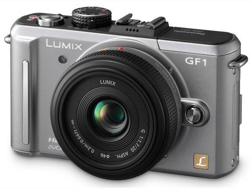 Panasonic Lumix DMC-GF1 Systemkamera (12 Megapixel, 7,6 cm Display, HD-Video, LiveView, Bildstabilisator) inkl. 14-45 mm Objektiv titan-silber