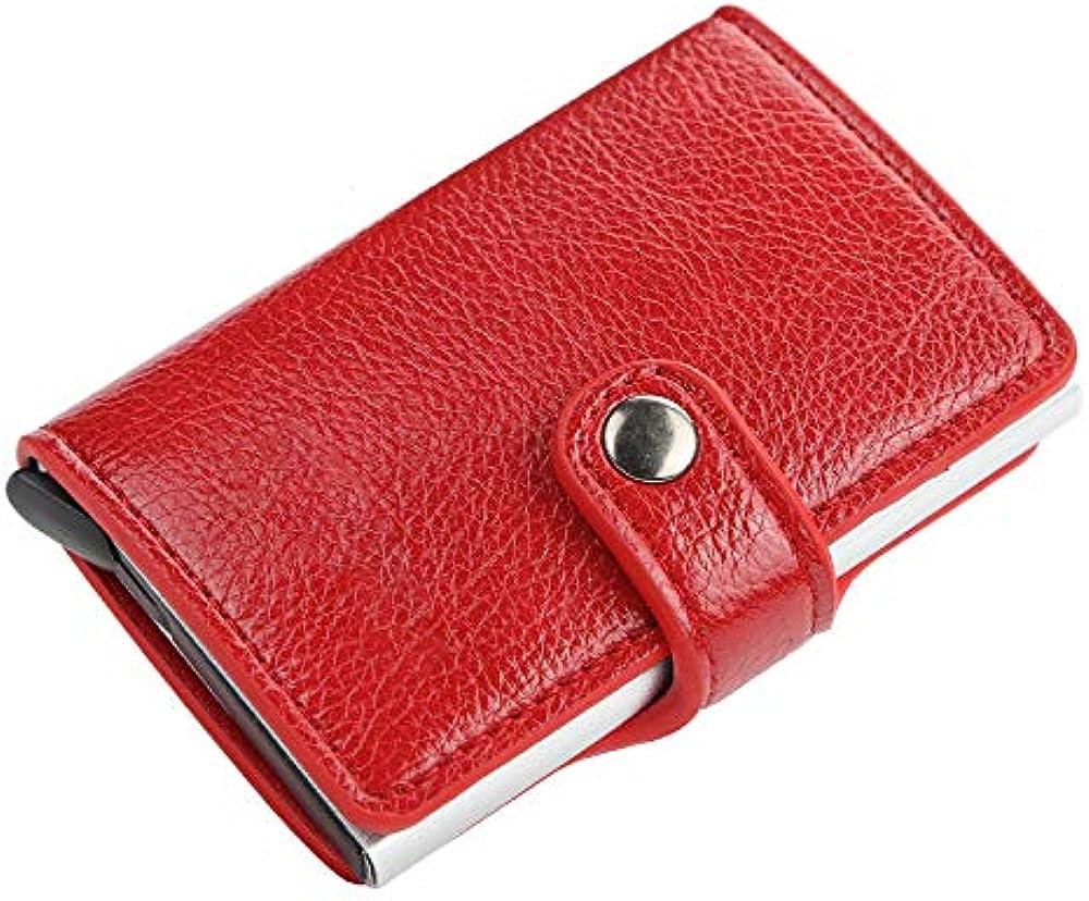 Winnes, porta carte di credito, con blocco rfid, portafoglio per uomo, in pelle e alluminio