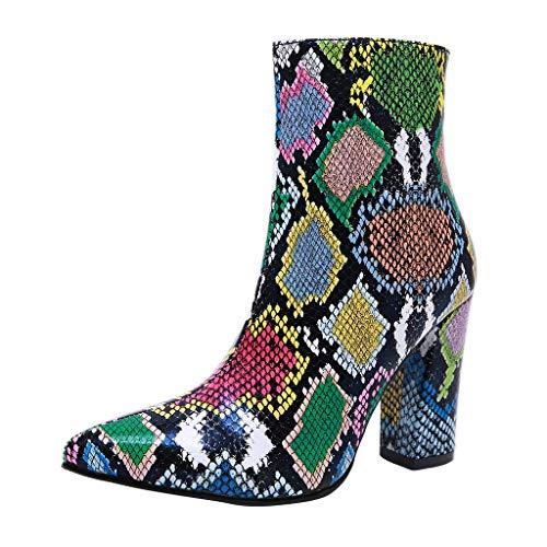 Stiefel Damen Westernabsatz Reißverschluss Kurzschaft Stiefeletten Mehrfarbig Schlange Muster Spitzschuhe Party Club Schuhe Mode Sexy Damenschuhe (35 EU, Mehrfarbig)